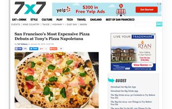 San Francisco's Most Expensive Pizza Debuts at Tony's Pizza Napoletana