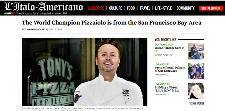 The World Champion Pizzaiolo is from the San Francisco Bay Area