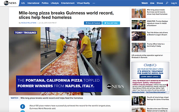 Mile-long pizza breaks Guinness world record, slices help feed homeless